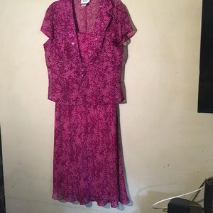 Bob Mackie Mauve 100% Silk 2-pc Dress, Sz 12